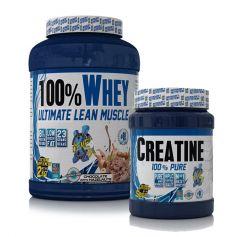 Proteína 100% Whey protein 2kg + Monohidrato de Creatina 500 gr